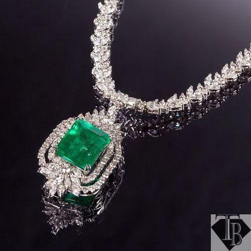 頂級哥倫比亞祖母綠鑽石墜